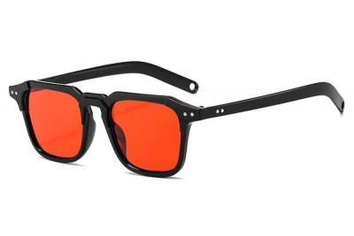Men's Black Square Preppy Sunglasses With Red Lens