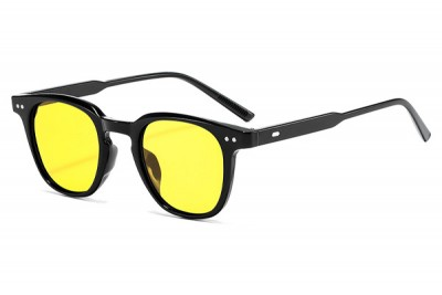 Black Rounded Preppy Sunglasses With Yellow Lens