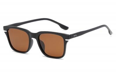 Men's Black Square Sunglasses With Brown Lens