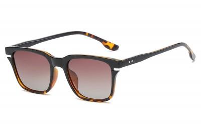 Men's Two-Tone Black & Tort Square Sunglasses With Gradient Lens