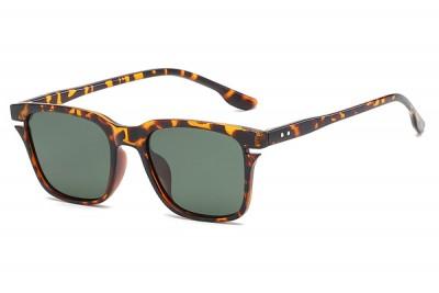 Men's Brown Square Tortoiseshell Sunglasses With Green Lens