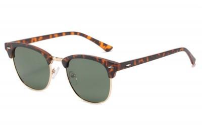 Leopard Tort Brown Half-Frame Retro Club Master Style Sunglasses