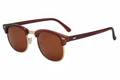 Dark Red Burgundy Half-Frame Retro Club Master Style Sunglasses