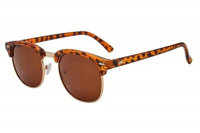 Light Brown Leopard Half-Frame Retro Club Master Style Sunglasses