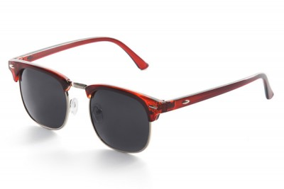 Red Half-Frame Retro Club Master Style Sunglasses With Grey Lens