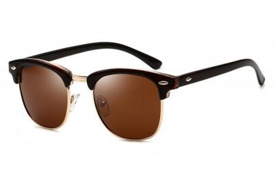Dark Brown Half-Frame Retro Club Master Style Sunglasses