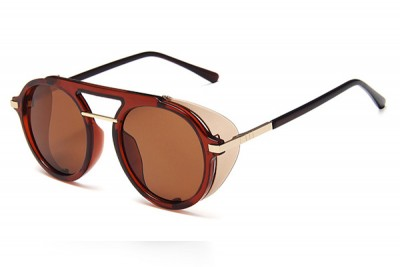 Brown Acetate Round Pilot Sunglasses With Contrast Side Shield & Double Brow Bar