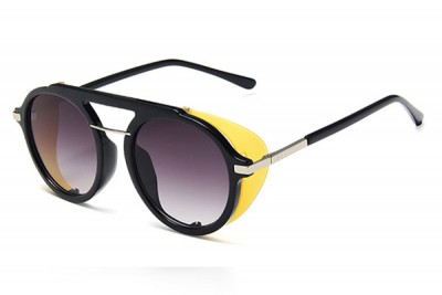 Black Round Pilot Sunglasses With Gradient Lens, Yellow Contrast Side Shield & Double Brow Bar