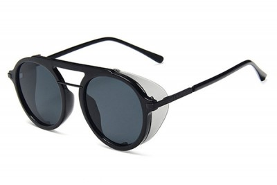 Black Round Pilot Sunglasses With Grey Contrast Side Shield & Double Brow Bar