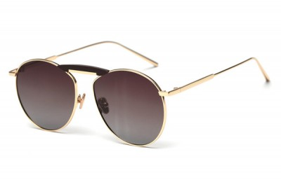 Brown Metal Round Sunglasses With Gold Detail & Oversize Brow Bar