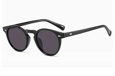 Slim Frame Black Preppy Round Sunglasses