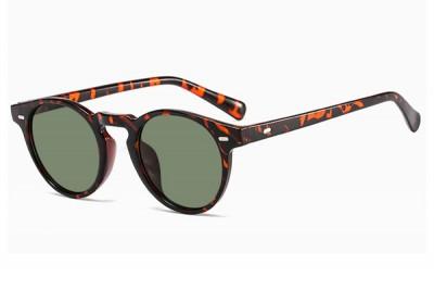 Slim Frame Round Tort Leopard Brown Preppy Round Sunglasses