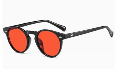 Slim Frame Black Preppy Round Sunglasses With Red Lens