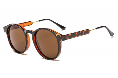 Round Transparent Clear Acetate Sunglasses In Brown Tortoiseshell