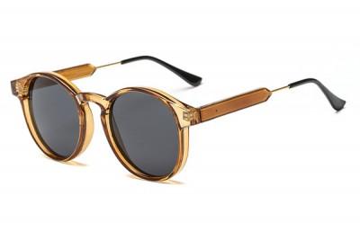 Round Transparent Clear Acetate Sunglasses In Beige Lemon Ice Tea