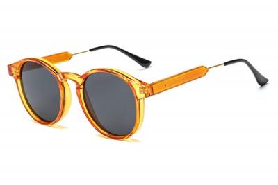 Orange Round Transparent Clear Acetate Sunglasses