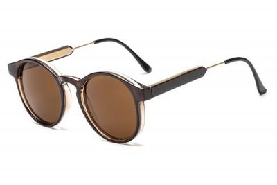 Round Transparent Clear Acetate Sunglasses In Dark Brown