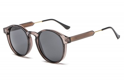 Grey Round Transparent Clear Acetate Sunglasses
