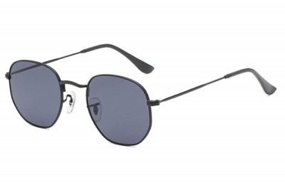 Black Rounded Metal Sunglasses With Grey Lens