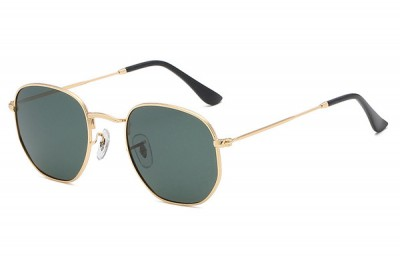 Gold Rounded Metal Sunglasses With Green Lens