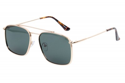 Men's Square Metal Sunglasses With Gold Brow Bar & Green Lens