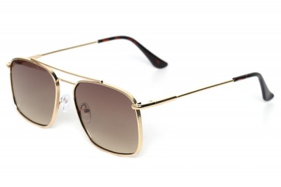 Men's Reflective Square Metal Sunglasses With Gold Brow Bar