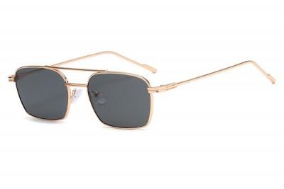 Men's Slim Square Gold Metal Sunglasses With Brow Bar