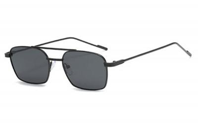 Men's Slim Square Black Metal Sunglasses With Brow Bar