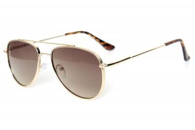 Men's Gold Metal Aviator Pilot Sunglasses With Gradient Brown Lens