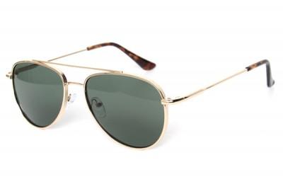 Men's Gold Metal Aviator Pilot Sunglasses With Green Lens