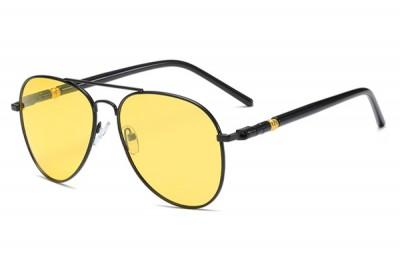 Men's Black Aviator Pilot Metal Sunglasses With Yellow Lens