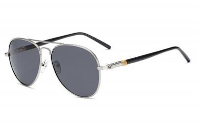 Men's Black & Silver Metal Aviator Pilot Sunglasses With Smoke Grey Lens