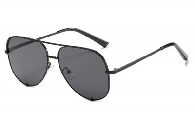 Women's Black Retro Oversized Aviator Pilot Sunglasses With Flat Top