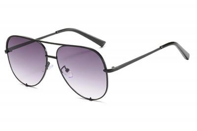 Women's Retro Oversized Aviator Pilot Sunglasses In Black With Gradient Lens & Flat Top