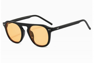 Retro Black Rounded Flat Top Sunglasses With Lemon Yellow Lens
