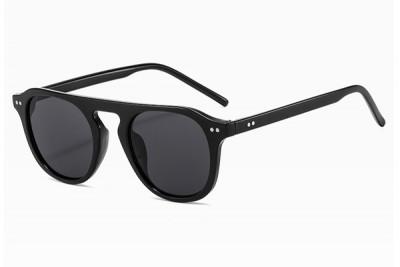 Retro Black Rounded Flat Top Sunglasses