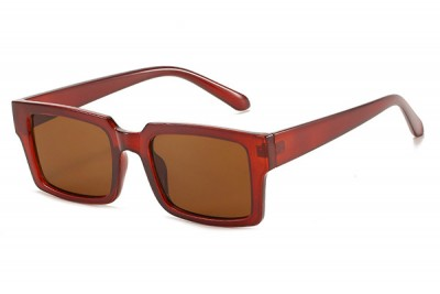 Oversized Wide Rectangular Sunglasses In Clear Acetate Red