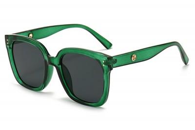 Women's Green Transparent Clear Acetate Oversize Square Sunglasses