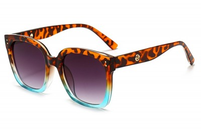 Women's Two-Tone Leopard Tort Brown & Blue Transparent Clear Acetate Oversize Square Sunglasses
