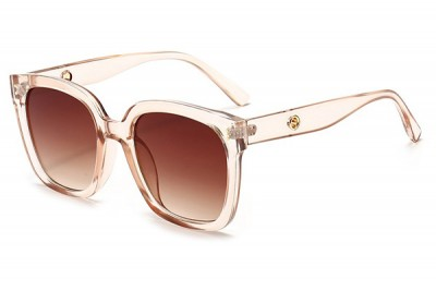 Women's Transparent Clear Acetate Pink Oversize Square Sunglasses With Brown Gradient Lens