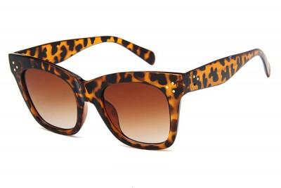 Women's Square Retro Leopard Brown Cat Eye Sunglasses With Gradient Lens
