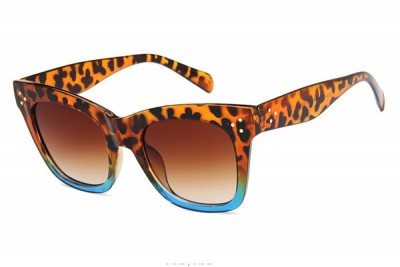 Women's Square Retro Two-Tone Cat Eye Sunglasses In Leopard Brown & Blue With Gradient Lens