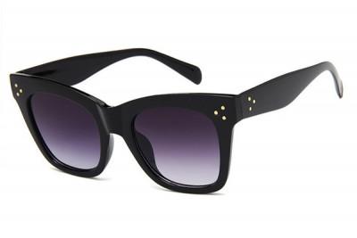 Women's Black Square Retro Cat Eye Sunglasses With Gradient Lens