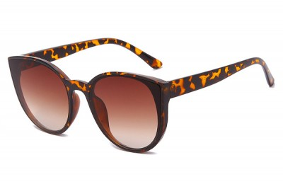 Women's Brown Tort Leopard Oversized Round Cat Eye Sunglasses With Gradient Lens