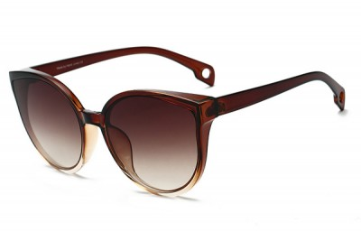 Women's Two-Tone Brown & Clear Acetate Oversized Round Cat Eye Sunglasses With Gradient Lens