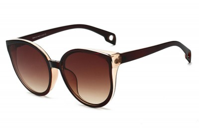 Women's Dark Brown & Clear Acetate Oversized Round Cat Eye Sunglasses With Gradient Lens