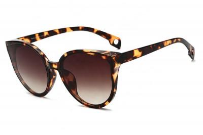 Women's Light Brown Tort Leopard Oversized Round Cat Eye Sunglasses With Gradient Lens