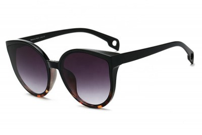 Women's Two-Tone Black & Tort Brown Oversized Round Cat Eye Sunglasses With Gradient Lens