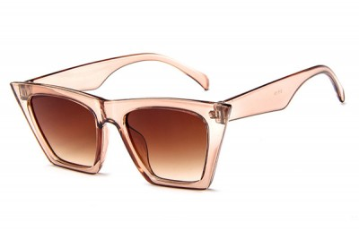 Women's Pointed Square Cat Eye Sunglasses In Transparent Clear Pink Acetate With Flat Top & Gradient Lens