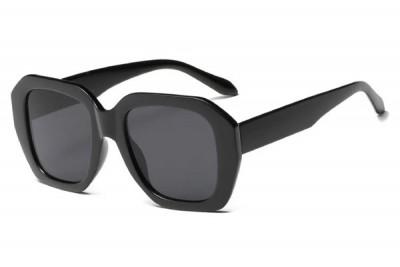 Women's Angular Rounded Oval Black Sunglasses